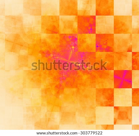 Abstract geometric background with columns and rows of squares and a star-like distorted pattern mixed in to, all in bright vivid red,orange,pink - stock photo