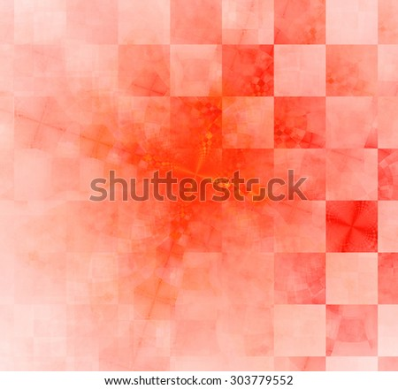 Abstract geometric background with columns and rows of squares and a star-like distorted pattern mixed in to, all in light pastel red - stock photo