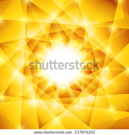 Abstract geometric background with yellow triangles and bright sparkles. Summer sun with sunbeams - stock photo