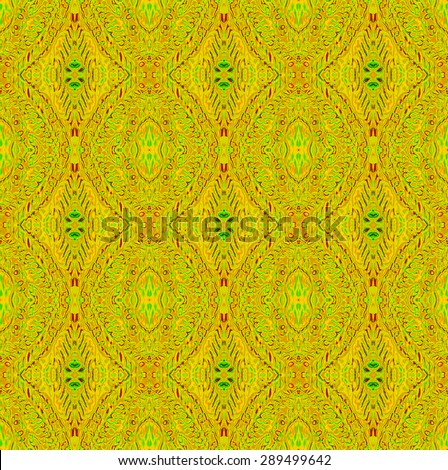 Abstract geometric baroque background in vibrant colors, seamless ornate delicate ellipses and diamond pattern, yellow ocher, red and bright green  - stock photo