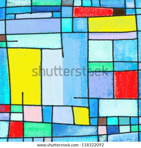 abstract geometric colorful pattern ,painting of multicolors square pattern - stock photo
