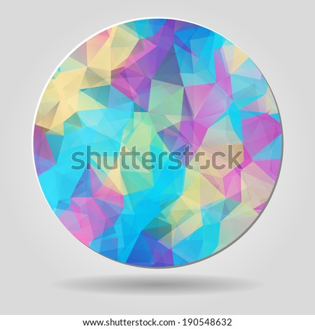 Abstract geometric colourful spherical shape with triangular polygons