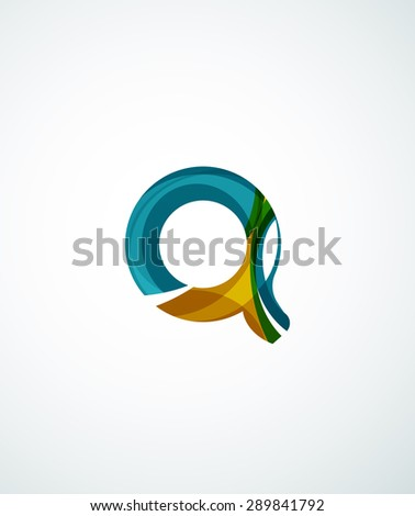Abstract geometric company logo hexagon shape. Illustration of universal shape concept made of various wave overlapping elements - stock photo