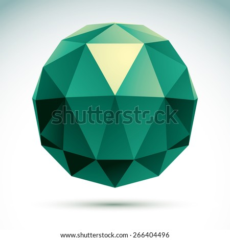 Abstract geometric 3D object, modern digital technology and science theme illustration - stock photo