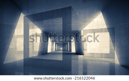 Abstract geometric digital 3d background. Interior with concrete texture - stock photo