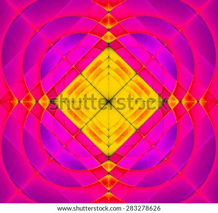 Abstract geometric fractal background with a square star in the center and decorative arches surrounding it, all in vivid pink and yellow - stock photo