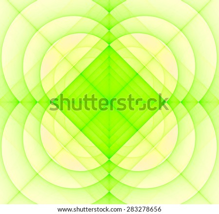 Abstract geometric fractal background with a square star in the center and decorative arches surrounding it, all in light pastel yellow and green - stock photo