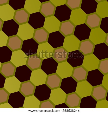 Abstract Geometric Honeycomb Pattern. Art Style Mosaic Background. Gray Green Brown Hexagons. Ornate Geometrical Backdrop. Digital Hexagonal Tiling. Ornamental Polygonal Illustration. Simple Image. - stock photo