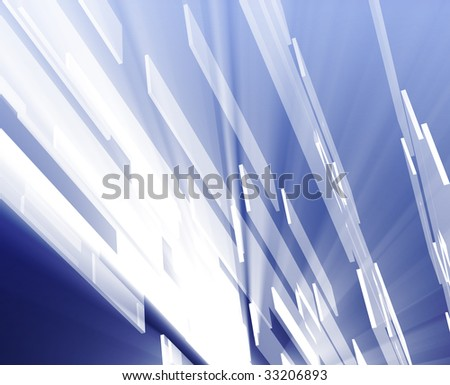 Abstract geometric illustration, smooth chrome flying panels