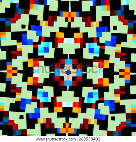 Abstract Geometric Kaleidoscope Pattern. Creative Pixel Style Background. Digital Mosaic Design. Modern White Blue Black Illustration. Computer Generated Color Image. Decorative Art Concept. Shapes. - stock photo