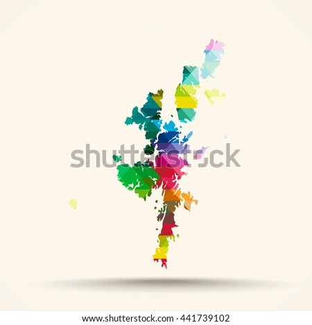 Abstract geometric map Shetland Islands background consisting of triangles - stock photo