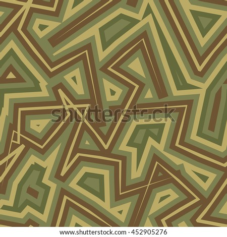 Abstract Geometric Military camouflage background. Protective seamless pattern. Army soldier texture for clothes. Khaki ornament. - stock photo