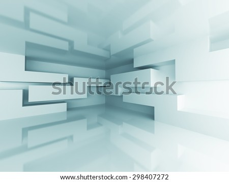 Abstract Geometric Modern Architecture Interior Background. 3d Render Illustration - stock photo