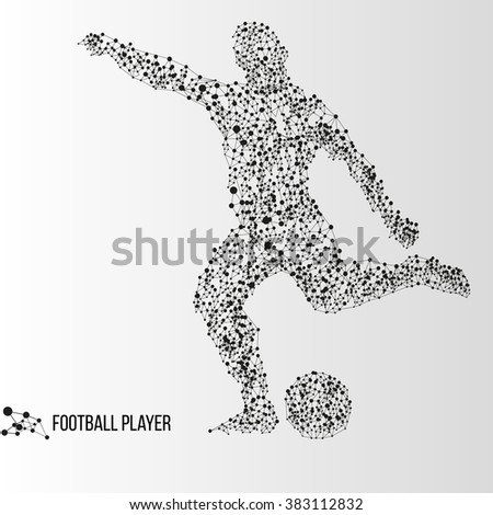 Abstract geometric molecule polygonal football soccer player silhouette isolated on gradient background - stock photo