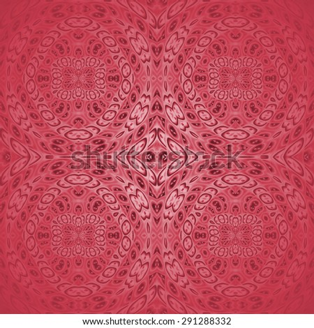 Abstract geometric monochrome background, seamless ellipses and diamond pattern, ornate ornaments in red shades, centered and shining, square  - stock photo