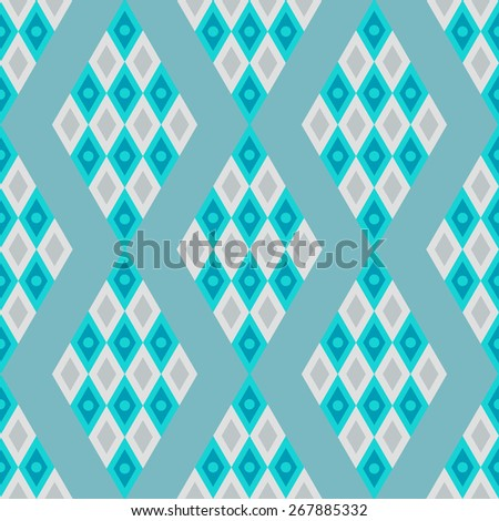 Abstract geometric mosaic seamless pattern in blue colos. Repeating background texture  - stock photo
