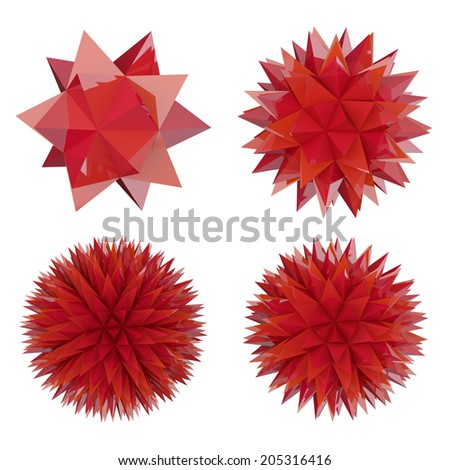 abstract geometric object with spikes - stock photo