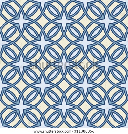 Abstract geometric outlined pattern in blue and cream white, textured background, seamless illustration