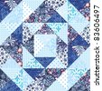 Abstract geometric patchwork handmade background in blue - stock photo