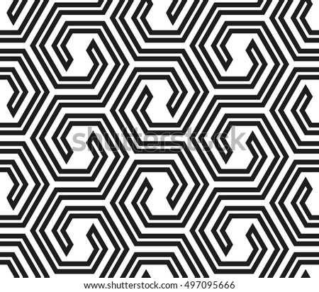 Abstract geometric pattern with lines, hexagons. A seamless background. White and black texture. Graphic modern pattern.
