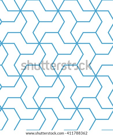 Abstract geometric pattern with stripes, lines. A seamless background. Blue and white texture. - stock photo