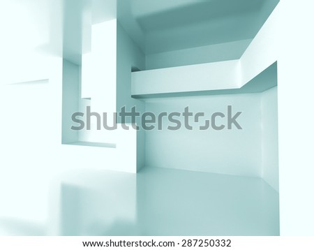 Abstract Geometric Room Interior Architecture Background. 3d Render Illustration - stock photo