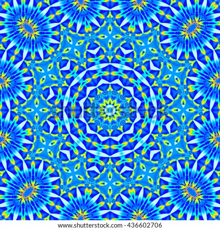Abstract geometric seamless background. Ornate concentric ornament in blue shades with turquoise and yellow. - stock photo