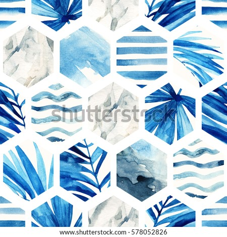 Abstract geometric seamless pattern on light background. Watercolor hexagon with palm leaves, waves, stripes and water color marble, grained, grunge, paper textures. Hand painted summer illustration