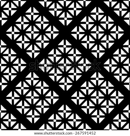 Abstract geometric seamless pattern with triangles in black and white. Monochrome repeating background texture - stock photo