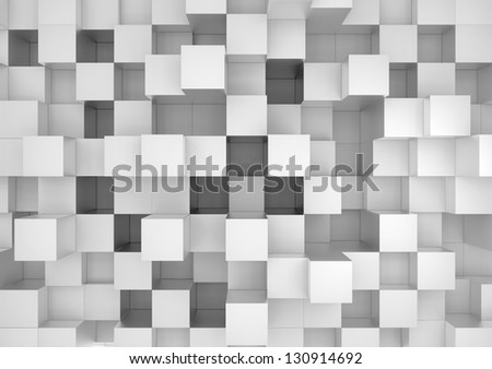 Abstract geometric shape of gray cubes - stock photo
