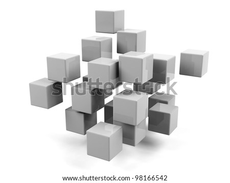 Abstract geometric shapes from cubes isolated. - stock photo