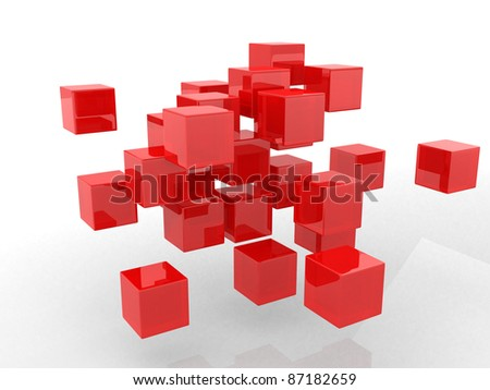 Abstract geometric shapes from cubes. This is 3d render illustration
