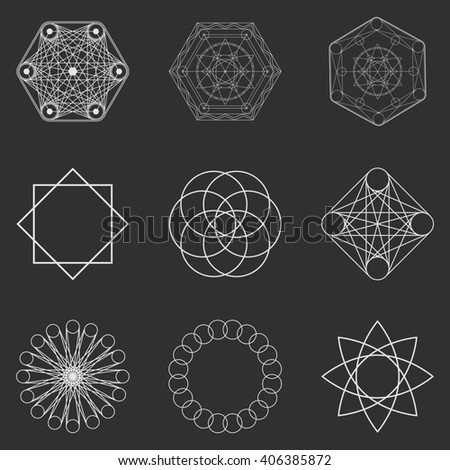Abstract geometric shapes, futuristic wavy fractal of star and circle. Raster square and other different decorative elements. Cool geometric illustration in grey color - stock photo