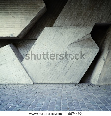 Abstract geometric square background of the concrete - stock photo