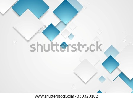 Abstract geometric tech paper squares design - stock photo