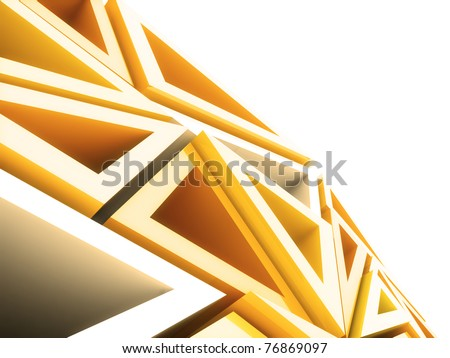 Abstract geometrical background with orange triangles and copyspace - stock photo