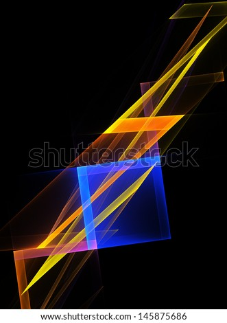 Abstract geometrical shape on a black background