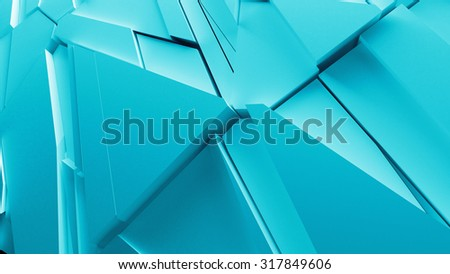 abstract geometry background made of sliced pieces and randomly shapes, sharp forms with light bounce and shadows - stock photo
