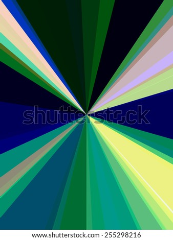 Abstract geometry of origin: Rays of various colors converge at center for illusion of high-speed travel or diminishing perspective, and for decorative or background themes of centrality or emission - stock photo