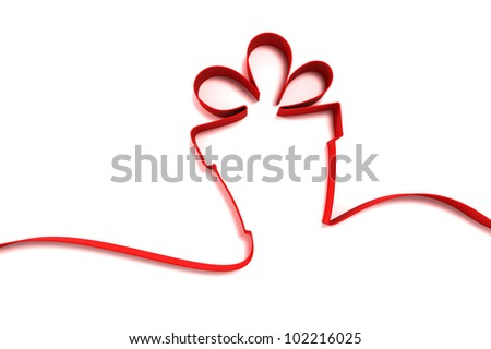 abstract gift from ribbons isolated on white background