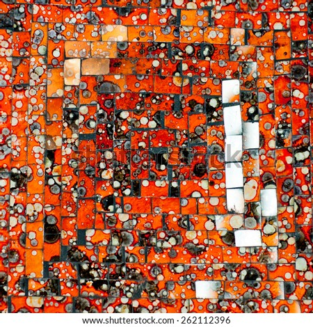 Abstract glass decorative mosaic background. Orange mosaic made by ceramic tiles with blots and stains. - stock photo