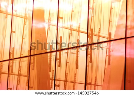 abstract glass reflection at sunset - stock photo