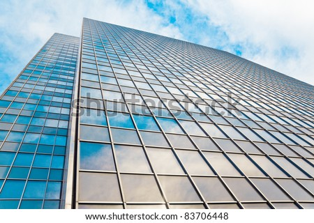 abstract glass skyscraper. Glass wall of office buildings. modern glass silhouettes. Modern office.