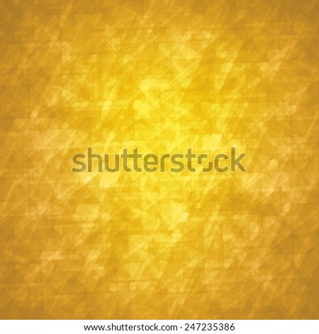 abstract glassy triangle and rectangle shapes background with gold geometric angles and lines in fine detail pattern, shimmering gold glass background layout, yellow background - stock photo