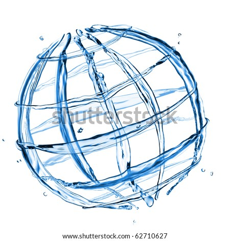 abstract globe from water splashes isolated on white - stock photo