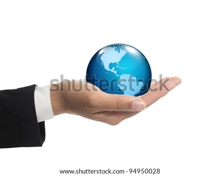 Abstract globe in businessman hands.