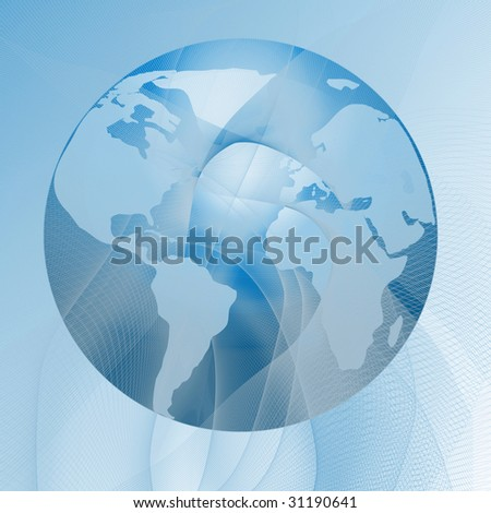 abstract globe on a soft blue background