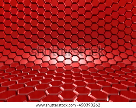 Abstract Glossy Red Hexagon Background. 3d Render Illustration - stock photo