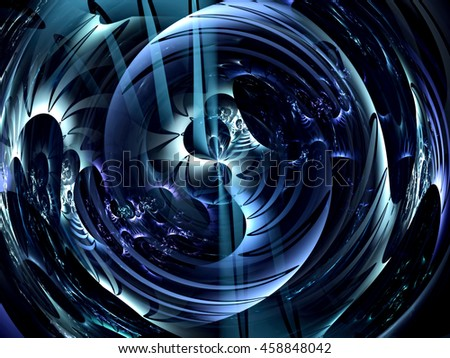 Abstract glowing crystal ball - computer-generated image. Digital art: smooth curves form an intricate pattern. Trendy fractal for web design, covers, posters. - stock photo