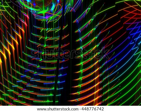 Abstract glowing neon stripes - computer-generated image. Fractal art - bright shining curves. Holiday lights. - stock photo